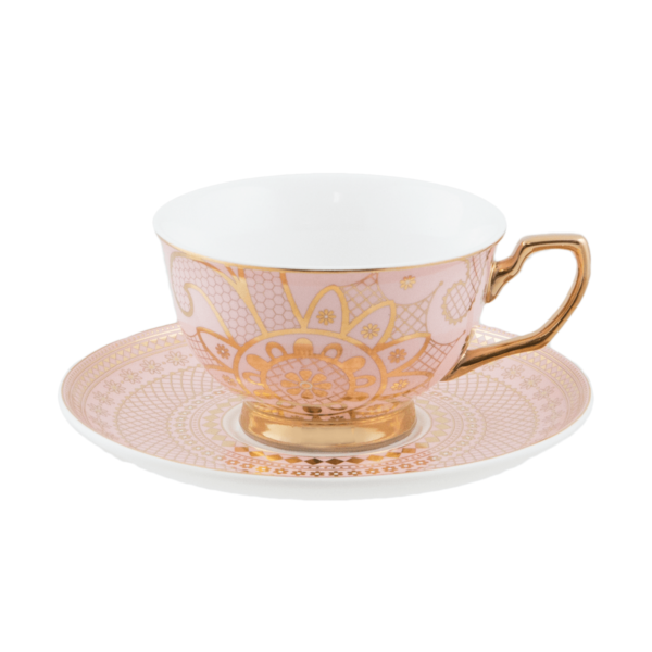 tea cup with lace pattern