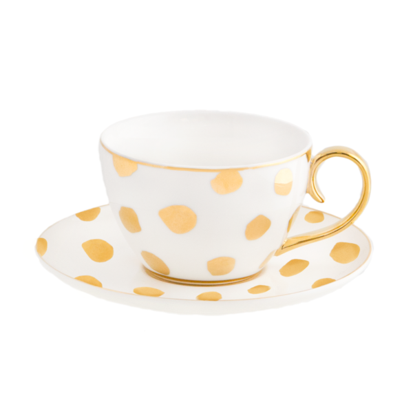 tea cup with gold spots