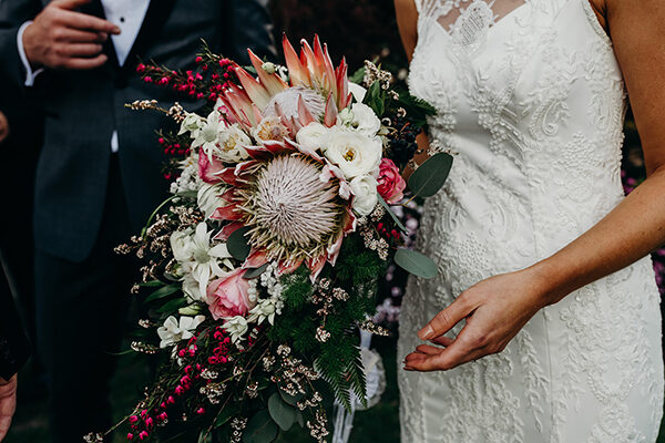Native bouquet held by real bride